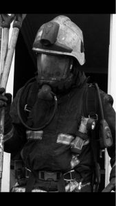 black and white firefighter photograph